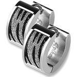 BlackAmazement 2er Set Paar 316L Edelstahl Klapp Creolen Zebra Muster Sandgestrahlt Glitzer Ohrringe Schwarz Silber (Silber)