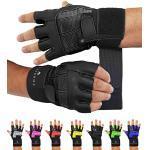 Schwarze Atmungsaktive Sporthandschuhe für Herren zum Fitnesstraining