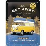 Blechschild VW Bulli Get Away 15x20 cm