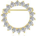 Bling Jewelry Braut Ewigkeit Faux Marquise Zirkonia AAA CZ Schal Runde Kreis Brosche Pin für Frauen für Hochzeit vergoldet Messing