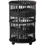 Bloomingville Windlicht geflochten aus Rattan, schwarz, H23 cm