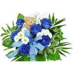 Blumenstrauß zur Geburt - Junge - Strauß mit blauen Rosen, weißen Santinis, Schleife und Teddy