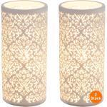 bmf-versand Tischleuchte »Nachttischlampe 2er Set Wohnzimmer Tischlampe Modern Weiß Porzellan Ornament«