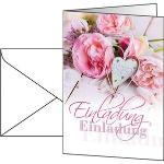Böttcher-AG Einladungskarten Blumen, A6, Klappkarten mit Umschlag, 5 Stück