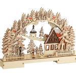 Böttcher-AG Schwibbogen Winterszene Schneeball, 11 LEDs, Holz, Batterie, 42 x 30 cm