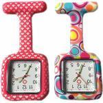 BOOLAVARD 2 x Uhren,Krankenschwester FOB-Uhr Damen Taschenuhr Analog Quarzuhr aus Silikon - Square Red Heart/Blase