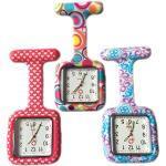 BOOLAVARD 3 x Uhren,Krankenschwester FOB-Uhr Damen Taschenuhr Analog Quarzuhr aus Silikon - Square Red Heart/Blase/Swirl