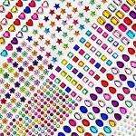 Bosdontek Glitzersteine Strasssteine Selbstklebend 10 Blätter Acryl Bunt Selbstklebende Schmucksteine Verschiedene Formen Crystal Edelstein zum Aufkleben (700Pcs)