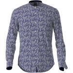 BOSS Rolfo Slim Fit Leinenhemd blau/silber, Gemustert
