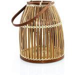 BOURGH Laterne Bambus RIPOSTO - Natur Holz Windlicht, Dunkelbraun, 25 cm hoch, mit Henkel, Kerzenhalter Windlicht Glas - Geeignet als Balkon Deko und für Garten, Terrasse und Wohnung