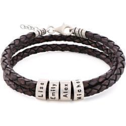 Braunes Lederarmband mit Gravur auf kleinen personalisierten Beads in Silber