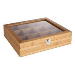 Bredemeijer Luxus-Teekiste aus Bambus von Bredemeijer mit zwölf Fächern und einem Glasdeckel. Die Bambusbox mit 12 Fächern