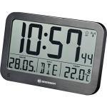 Bresser digitale Wanduhr MyTime MC LCD Wand Tischuhr 225x150mm mit Thermometer in schwarz