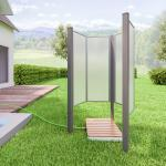 Breuer Garten-Dusche Fara-O inkl.2 x Pfosten Grau Kunstglas Satiniert