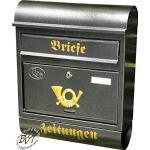 Briefkasten, Premium-Qualität, mit Schutzlackierung R/a groß in schwarz anthrazit dunkel Zeitungsfach Zeitungen rund antik Mailbox Schild