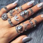 Brishow 14 Stück Vintage Silber Ringe Boho Kristall Knöchel Ringe Set Retro Blatt Stapelring mit Blumen für Frauen und Mädchen