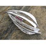 Brosche - Design mit Rubin - Sterling Silber rhodiniert