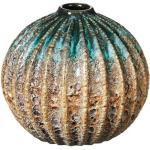 Broste Copenhagen Vase RUSTICA rund Steingut grün/blau 15,7 cm (mehrfarbig)