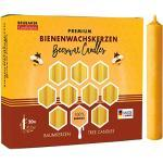 Brubaker 20er Pack Baumkerzen 100% Bienenwachs Weihnachtskerzen Pyramidenkerzen Christbaumkerzen Honig-Gelb