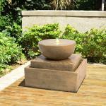 Brunnen Larchwood aus Kunstharz mit Licht