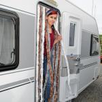 Brunner Chenille Flauschvorhang, 56x175 cm, blau/silber, ideal für Caravans