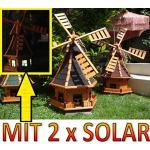 BTV Windmühle, WMB100at-MS,Windmühlen KOMPLETT mit Licht SOLAR Beleuchtung 1m groß schwarz anthrazit
