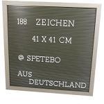 Buchstaben Tafel 41x41 cm weiß - 188 Zeichen - Memoboard Letterboard Stecktafel Pinnwand