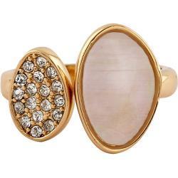 Buckley London Ring vergoldet mit Perlmutt und Kristallen, gelb, gelb