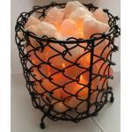"budawi® - Rosenquarz Lampe, Rosenquarz-/Steinlampe, im"" Steinkorb"" beleuchtet, Edelsteinlampe Rosenquarz/Salzlampe"