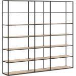 Bücherregal Industriedesign konfigurierbar LIUM MIX-3x6-2 | 232x208x36 (LxHxT) | eiche/schwarz