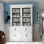 Bücherschrank in Weiß Landhaus Mahagoni teilmassiv