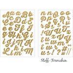 Bügel-Applikation Buchstaben Gold Glitzer