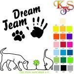 Bügelbild Hotfix Hund Hand Pfote Dream Team (1) Flexfolie 20 Fb