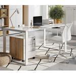 Büro Schreibtisch in Weiß und Wildeiche Optik Glas beschichtet (2-teilig)