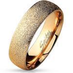 BUNGSA Fingerring »Ring sandgestrahlt Rosegold aus Edelstahl Unisex« (inkl. Schmuckbeutel aus Organza), Damen Herren Verlobung Ehering Valentinstag