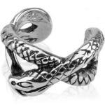 BUNGSA Ohrklemme »Ohrklemme Schlange silber aus Messing Unisex« (inkl. Schmuckbeutel aus Organza), Ohrschmuck Ohrringe Frauen Geschenk Liebe