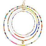 Bunte Perlenkette Boho Halskette Set 4pcs, Shell choker Perlen Muschel Kette Schmuck Boho Style Ketten Verstellbar für Damen und Mädchen
