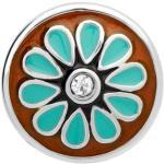 Button Emaille Blumenmuster Zirkonia