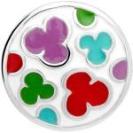 Button Emaille rot grün türkise Wolken