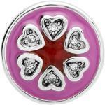 Button rosarote Emaille Herzen Zirkonia