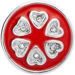 Button rote Emaille Herzen Zirkonia