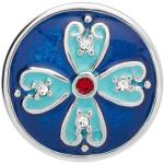 Button türkis-blaue Emaille roter Zirkonia