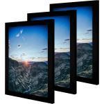 CABBEL Bilderrahmen, für 3 Bilder (Spar-Set, 3 Stück), 3er Set Bilderrahmen 30x40 cm MDF Holz-Rahmen mit bruchsicherem Acrylglas, ideal für Poster, Portraits in Schwarz, schwarz