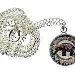 Cabochon Elefanten Kette Halskette 45cm Elefant Muster Boho Ethno Indisch Bunt
