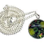 Cabochon Urwald Kette Halskette 45cm Regenwald Dschungel Muster Blätter Pflanzen
