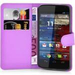 Cadorabo Handyhülle »Hülle case cover für« Motorola MOTO X, Magnetverschluss, Standfunktion und Kartenfach, Kunstleder, Klapphülle, lila