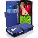 Cadorabo Hülle für LG G2 Mini in KÖNIGS BLAU – Handyhülle aus Strukturiertem Kunstleder mit Standfunktion und Kartenfach – Case Cover Schutzhülle Etui Tasche Book Klapp Style