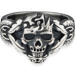 CAÏ Ring »925/- Sterling Silber matt oxidiert Totenkopf«, silberfarben, Silbergrau