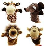 Caleson Zoo Friends Handpuppen (4er Set) - Elefant, Giraffe, Löwe und Affe (Große bewegliche Münder)