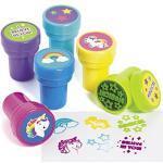 cama24com Kinderstempel Einhorn bunt und lustig 6 Stück Stempel Mitgebsel mit Palandi® Sticker